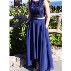 Dresses & Skirts - Blue two-piece laced prom dress